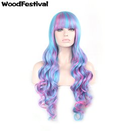 WoodFestival 80cm long curly wig ombre synthetic fiber hair wigs blue pink mix color lolita wig cosplay women wigs bangs hair