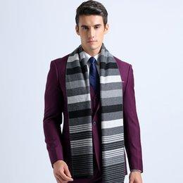 Promotion foulards en coton de marque de gros Grossiste-2016 Fashion hiver Collier Echarpes Coton longue écharpe rayée Echarpes Infinity pour hommes Shawl Designer Echarpe