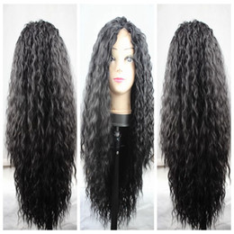 Charming Natural Soft Black Brown Long Kinky Curly Synthetic Wigs Cheap Heat Resistant Gluelese Lace Front Full Lace Wigs for black women