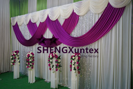 1 Set Ivory Wedding Backdrop Curtian With Purple Swag And Pipe Stand \ Stent