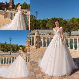 New Elegant A-line Wedding Dresses Vestios De Novia Sweetheart Cap Sleeves Lace 3D-floral Appliques A-line Bridal Gowns
