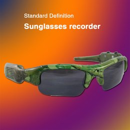 Wholesale The latest camouflage color camera sunglasses built in video player software free mail DG1008 smart glasses