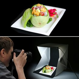 Promotion photo boîte de tente Wholesale- Photo Mini Foldable LED Soft Photo Studio Props Photographie Illumination Tente Backdrop Lumière Softbox Kit Accessoires