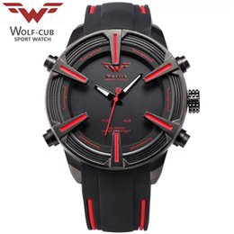 Wholesale United States WOLF CUB Sport Watch Auto Date LED Display Black Red Silicone Strap Band Digital Military Men s Quartz Wristwatch WC002