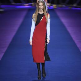 New Arrival Unique Design Women's Long Sleeve Off the Shoulder Patchwork Long Dress Casual Strectched Slit Dresses Plus Size 4XL