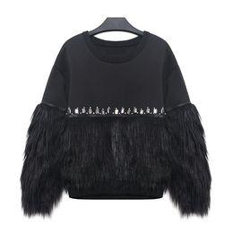 Hoodie de la fourrure pour les femmes à vendre-2017 Automne Hiver Femmes Sweat-shirt à capuche épais fourrure épissé avec strass Nouveau Streetwear Set tête molletonnée