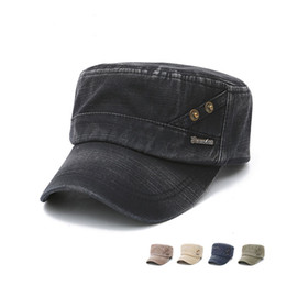 Spring Autumn New Cotton Army Flat Cap for Men Fashion Adjustable Peaked Peaked with Copper Men's Sunhat Cap Retro Flatcap GH-92
