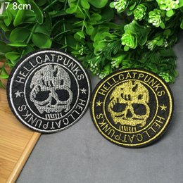 Free shipping new 8cm * 8CM New Skull Badge Iron on Patches of Stickers, Soccer team Woven Label Patch Wholesale, DIY Cloth Accessories