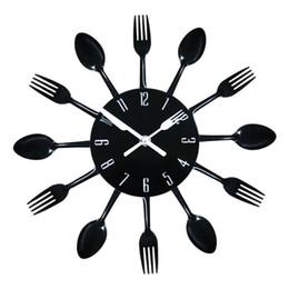 Wholesale Modern DIY Wall Clock Stainless steel Wall Watch Quartz Knife Fork Spoon Home Office Decor