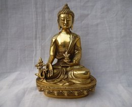 16 cm *  The ancient Chinese sculpture gold-plated copper statue of Buddha had