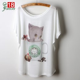 Promotion shirt de douille d'impression des animaux gros Wholesale-2016 casual Tops Cute Animal Cat Impression Graphic Tees Femmes T-shirt O-cou Batwing T-shirt manches courtes camisetas mujer loose white tees