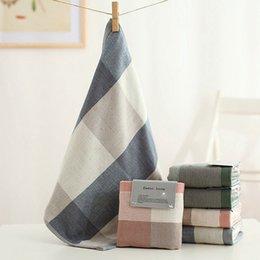 Plaid Hand Towel 100% Cotton Towel Set For Adults Quick Dry Toalha De Banho 35*35Cm