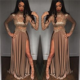 2k19 New Black Girls Sparkling Sequined Sheer Long Sleeves Prom Dresses High Neck Split Formal Party Evening Gowns BA6620