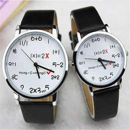 montre hommes montres en gros Promotion Wholesale- Mode Math Square Watch Funny Numbers Commentaire Femme Hommes Vêtements Casual Analog Quartz PU Leather Wrist Watch