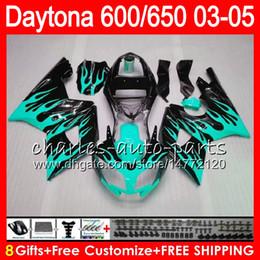 8 Gifts 23 Colors For Triumph Daytona 600 650 03 04 05 Daytona600 Cyan flames 3HM28 Daytona650 Daytona 650 600 2003 2004 2005 black Fairing