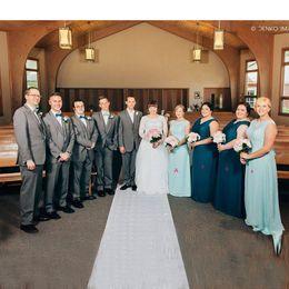 Simple Blue Bridesmaid Dress Jewel Sleeveless Formal Evening Gowns Floor-length Custom Made Chiffon Bridesmaids Dresses