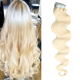 Tape In Hair 100% Remy Human Hair Body Wave Brazilian Virgin Hair Extension 40 Pcs 80g 16-26 Inch Multi Colors Can Be Permed