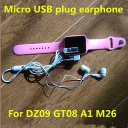 Wholesale Good Quality Earphone for Smart Watch GV09 GV08S DZ09 GV18 Earphone with Micro USB Plug Microphone Support Call FM Radio Antenna