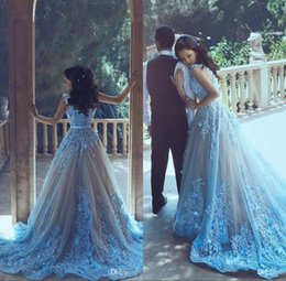 Said Mhamad New Long Prom Evening Dresses 2017 Sky Blue Applique A Line Bateau Neck Floor Length Formal Evening Party Gowns Custom Made