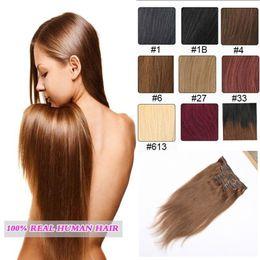 Women's Fashion Straight Hair Long Clip in hair Extensions Silk Colored Clip in Hair Extensions 10 pcs set Free shipping