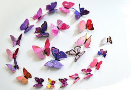 Wholesale Top quality set PVC Magnet D Butterfly Wall Sticker Decals Home Decor Poster For Kids Rooms Art Stickers set
