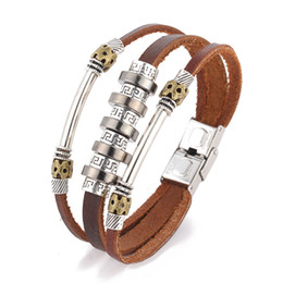 Wholesale Fashion personality punk wind back to the word pattern leather bracelet men s pu leather bracelet leather hand jewelry