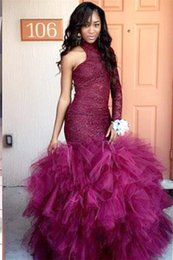 African High Neck Sleeveless Burgundy Prom Dresses Tulle Long Sleeve Lace Mermaid Prom Dress Sexy Custom 2017
