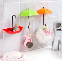 Wholesale Hot Creative Umbrella Shape Wall Mount Hook Key Holder Storage Stand Hanging Hooks For Bathroom Kitchen Door