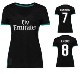 2017 18 new women's football suits RONALDO KROOS CARNAJAL BENZEMA BALE white soccer girls girls short-sleeved clothes