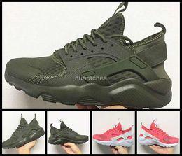 Huraches verdes en venta-2017 Air Huarache IV Zapatillas de running para hombres Mujer, Zapatillas de deporte rosadas verdes Triple Huaraches Zapatillas de deporte para hombre Zapatillas deportivas 36-46