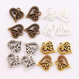 Wholesale 2017 Antique Silver Gold Bronze Hollow Flower Pattern Heart Charms Pendants Jewelry DIY Fit Bracelets Necklace Earrings L919