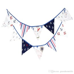 Promotion bannière de bourrage de tissu 12 drapeaux 3.2m Pirate Thème Tissu en coton Bunting Pennant Flag Banner Garland Wedding / Birthday / Baby Shower Party Decoration