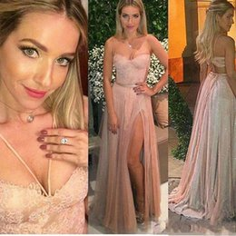 Sexy Lace Prom Dresses Sparkly Sequins Backless Spaghetti Straps Side Split Evening Gowns Tulle Blush 2017 Cheap Occasion Dress for Pageant