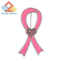 Acheter en ligne Ruban rose sein-Lutte contre le SIDA, ruban rose ruban rouge broche broche promotionnelle usine de cadeaux directs pour prévenir le cancer du sein