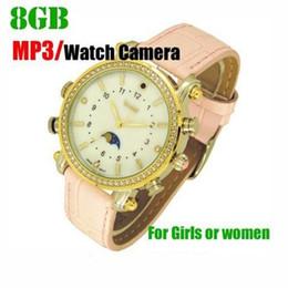 Acheter en ligne Caméra 8gb-8GB Lady Design Mini caméscopes étanches Caméra cachée Montre DVR Lecteur MP3
