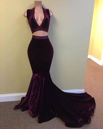 2017 New Sexy Two Piece Jersey Prom Dresses Grape Velvet Deep V Neck Mermaid Long Evening Dresses Formal Party Pageant Gowns BA5226
