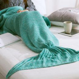 Размеры одеяло Онлайн-Дети размер хвост русалки одеяло шерсть вязаный хвост рыбы одеяло бросить постели Wrap супер мягкий спальный мешок 70x140cm на складе