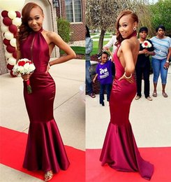 Cheap Sexy Halter Keyhole Bust Burgundy Backless Mermaid Long Prom Dresses Sweep Train Evening Party Gown Abendkleider