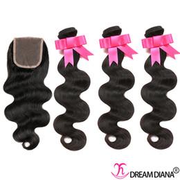 2017 18 black hair Cheveux brésiliens tissent 3 paquets avec le corps de boucle de dentelle de boucle de cheveux de cheveux humains avec la fermeture en dentelle 4x4 8A Couleur naturelle teinture noire 18 black hair sur la vente