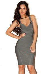 Robes bodycon kardashian à vendre-Kim Kardashian New Deep V Backless Slim Party Dress 2017 Summer Bandage Dress Sexy sans manches halter Nightclub Bodycon crayon Robes PF-024