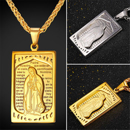 U7 Oratio Dominica Lord Prayer Jewelry Blessed Virgin Mary Pendant Necklace Gold Plated Stainless Steel Cross Charms Women Men Accessories