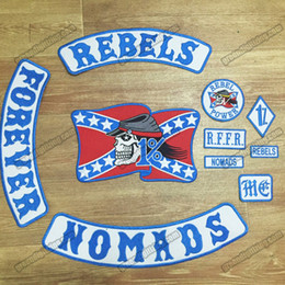 Hot Sale Mixed 10pcs  Set REBELS NOMADS FOREVER Embroidered Biker Patch Iron On Jacket Leather Vest Rider Punk 40cm Free Shipping