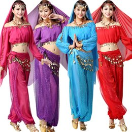 Top+Pant+Belt+Veil Women Belly Dance Performance Costumes Girls Dancing Wear Belly Dance Cloth Set Female Indian Stage Dancewear costumes