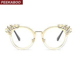 Promotion or gros cadres lunettes Vente en gros - Peekaboo lunettes en cristal féminin, lentilles claires, lunettes plates, cadre, oeil de chat, femme, marque de luxe, cadre aurifère 2017