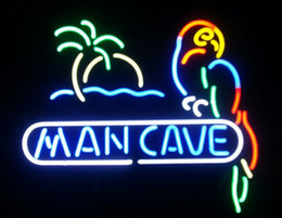Man Cave Parrot Real Glass Neon Light Sign Neon Lamp Beer Bar