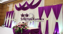 White Color Wedding Backdrop Curtain With Purple Color Swag Drape Fabric Free Shipping
