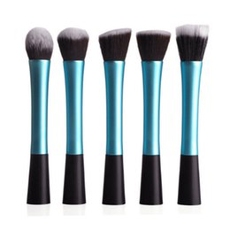 Mybasy High Quality Makeup Brushes 5pcs set Synthetic Kit Set Cosmetic Tools aluminium Handle Makeup Brush(blue black)