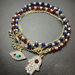 Malos encantos ojo azul en Línea-2Pcs mujeres aleación pulsera de cadena encantos Hamsa Mano afortunado ojos malos pulsera azul / rojo Moda parejas joyería