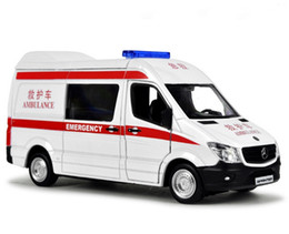 Wholesale 1 Scale Metal Diecast Alloy Ambulance Car Model For Sprinter Collection Licensed RV Model Pull Back Toys Estate Car