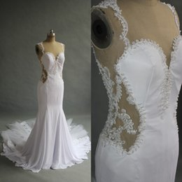 Stunning Mermaid Wedding Dress Sheer Tulle Back Pearls Lace Appliques Jewel Neck Sweetheart Fitted Bridal Gowns with Tulle Train